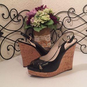 NINE WEST Patent Cork Wedge Sandals